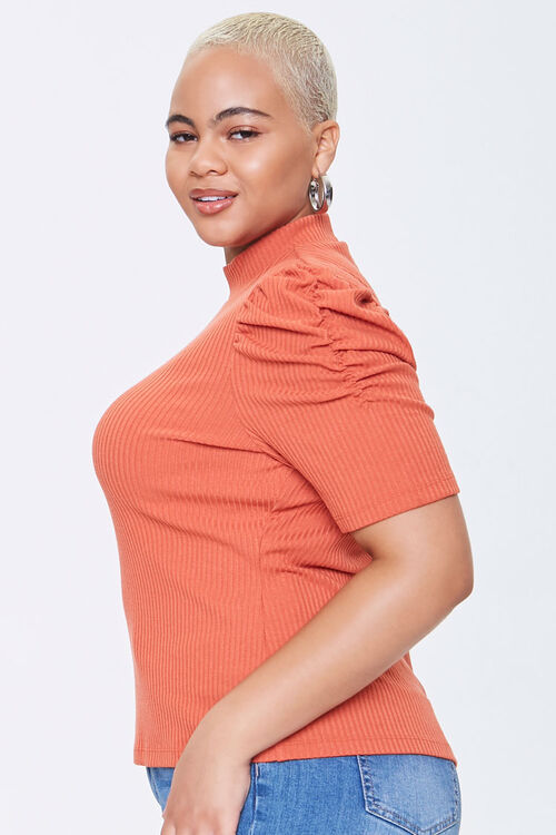 Plus Size Ribbed Puff-Sleeve Top, image 2