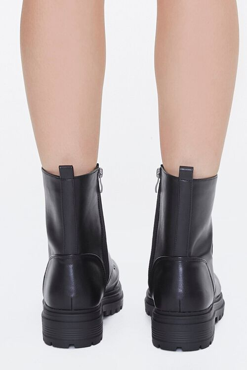 Faux Leather Lace-Up Ankle Boots, image 3