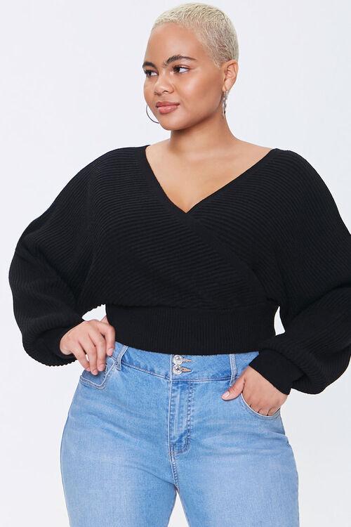 Plus Size Surplice Sweater, image 1
