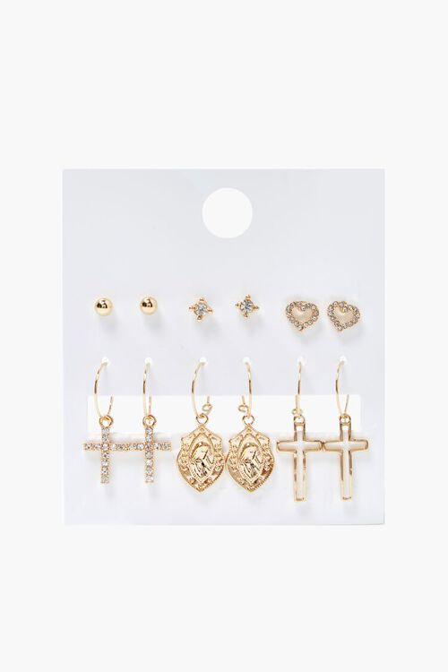 Cross Charm Hoop & Stud Earring Set, image 1
