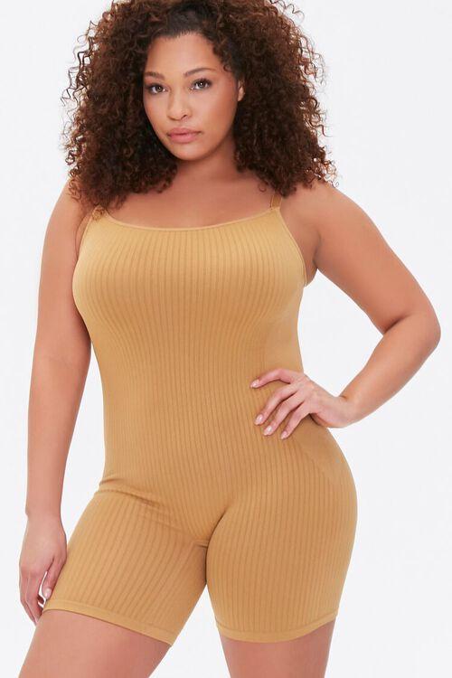 Plus Size Ribbed Cami Romper, image 1