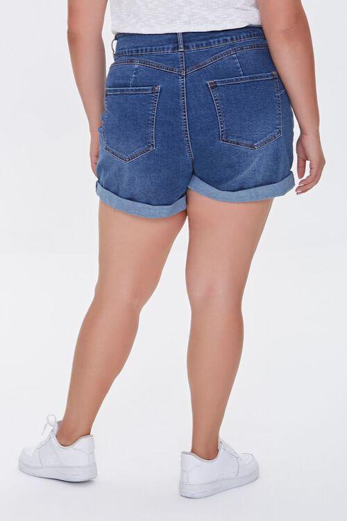 Plus Size Cuffed Denim Shorts, image 4