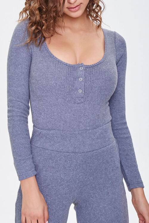 Ribbed Knit Henley Bodysuit, image 1