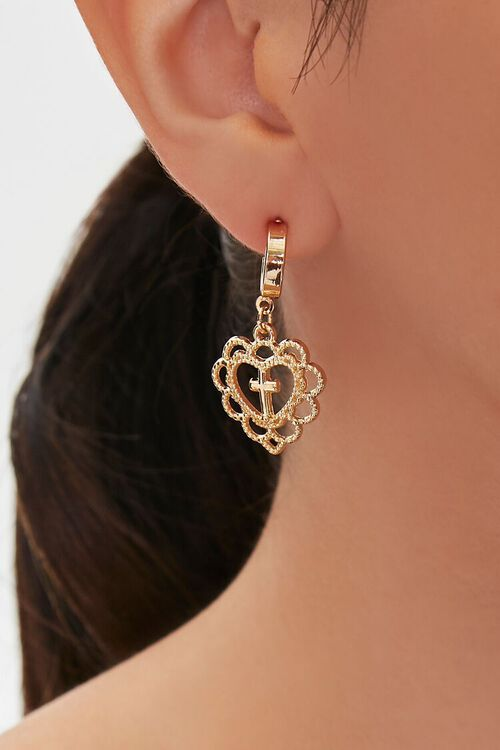 GOLD Upcycled Heart Cross Pendant Drop Earrings, image 1