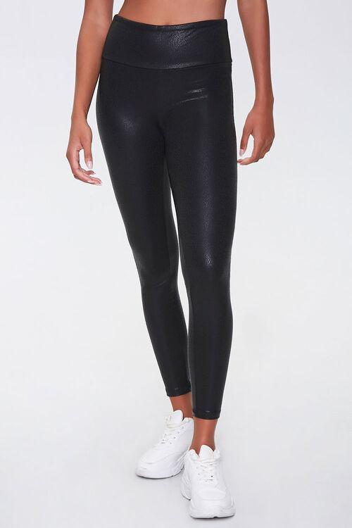BLACK Active Faux Leather Leggings, image 2