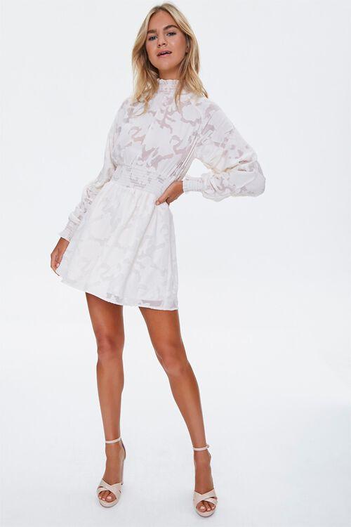 Abstract Smocked-Trim Mini Dress, image 4