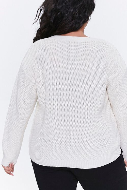 Plus Size Lace-Up Cardigan Sweater, image 3