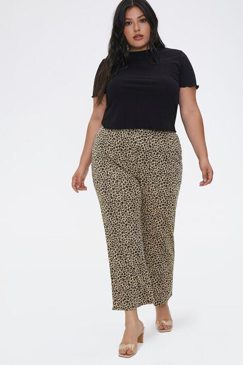 Plus Size Leopard Flare Pants, image 1