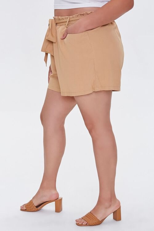 Plus Size Relaxed Tie-Belt Shorts, image 3