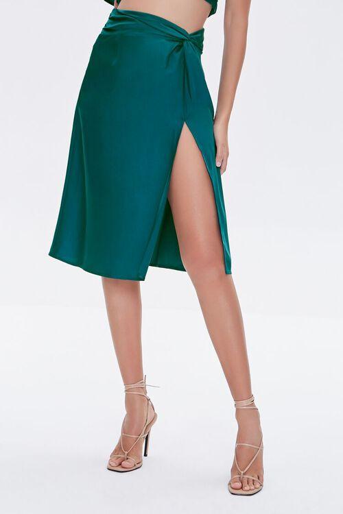 BLUE Gathered Satin Slit Skirt, image 2