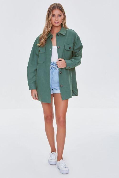 GREEN Oversized Button-Front Shacket, image 4