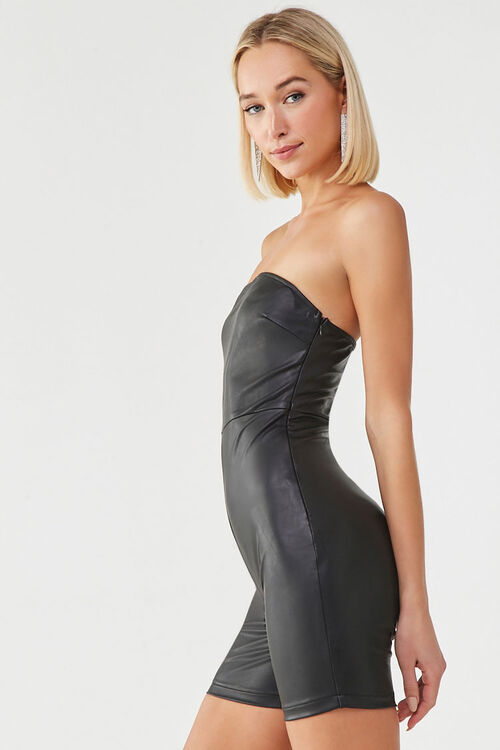 Faux Leather Tube Romper, image 2