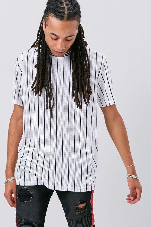 Vertical Striped Print Jersey Mesh Tee, image 2