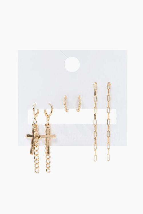 GOLD Cross Charm Drop Earring Set, image 1