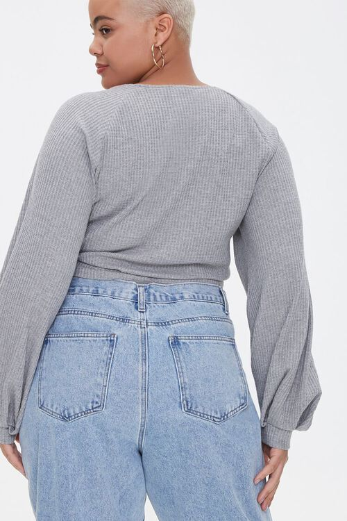Plus Size Ruched Balloon-Sleeve Crop Top, image 3