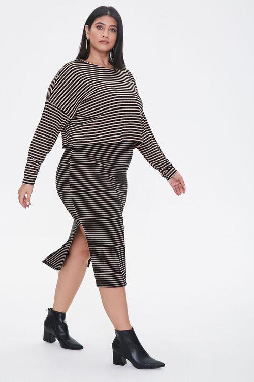 Plus Size Striped Top & Dress Set, image 1