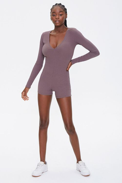 Ribbed Knit Long-Sleeve Romper, image 4