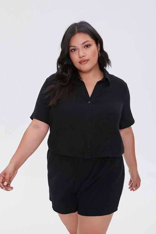 Plus Size Textured Shorts, image 1
