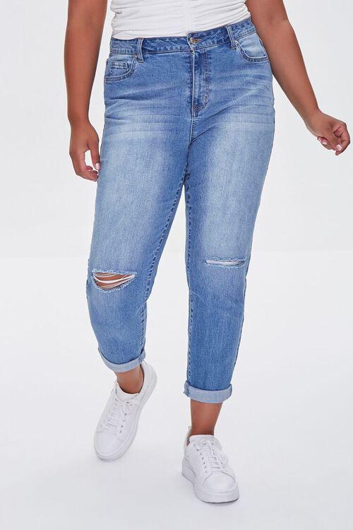MEDIUM DENIM Plus Size Premium Boyfriend Jeans, image 2