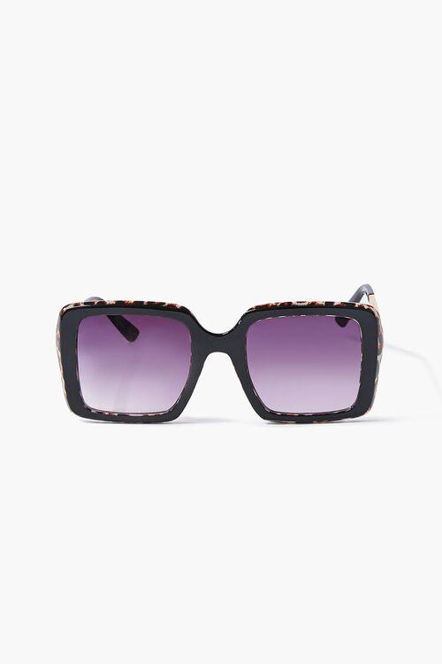 Leopard Print-Trim Square Sunglasses, image 1