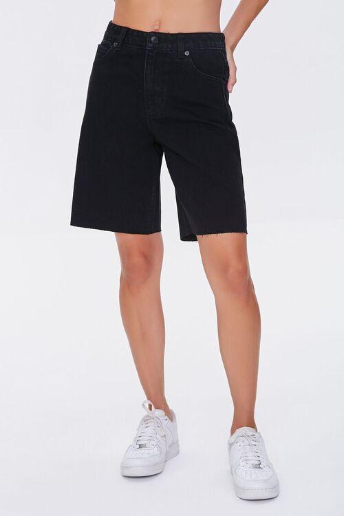 BLACK Raw-Cut Denim Bermuda Shorts, image 2