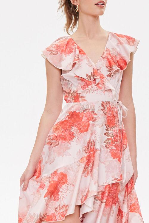 Satin Floral High-Low Wrap Dress, image 5