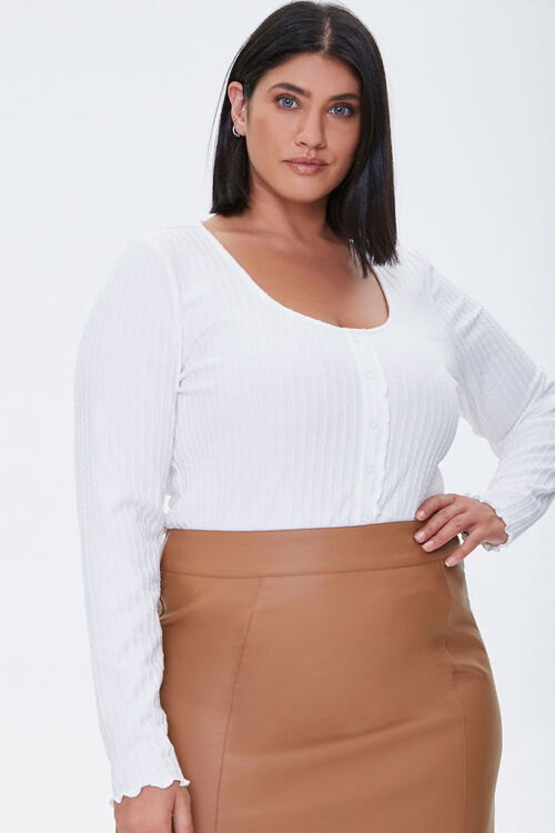 Plus Size Ribbed Lettuce-Edge Top, image 1