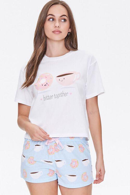 WHITE/BLUE Doughnut & Coffee Tee & Shorts Pajama Set, image 1