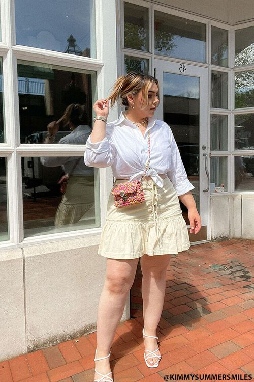 Plus Size Lace-Up Mini Skirt, image 1