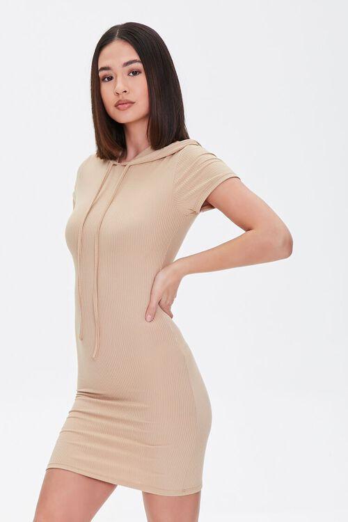 KHAKI Hooded Bodycon Mini Dress, image 1