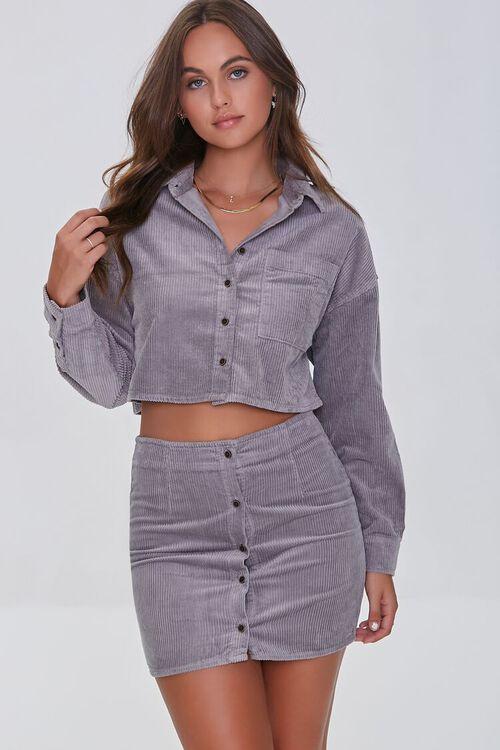 GREY Corduroy Shirt & Mini Skirt Set, image 1