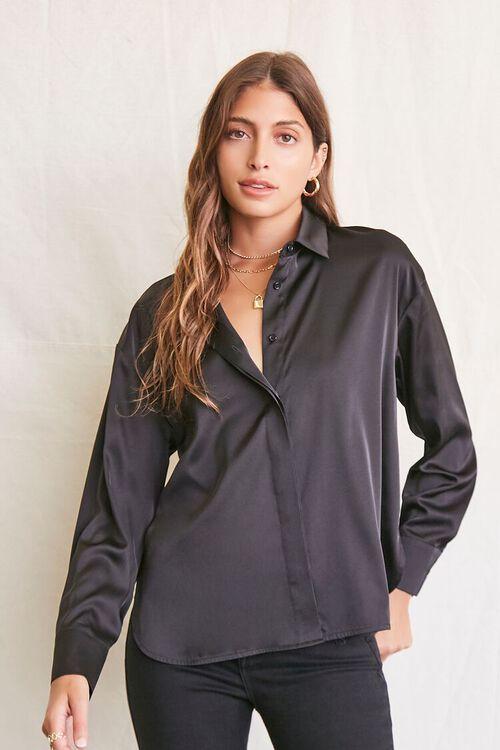 BLACK Satin Dolphin-Hem Shirt, image 1