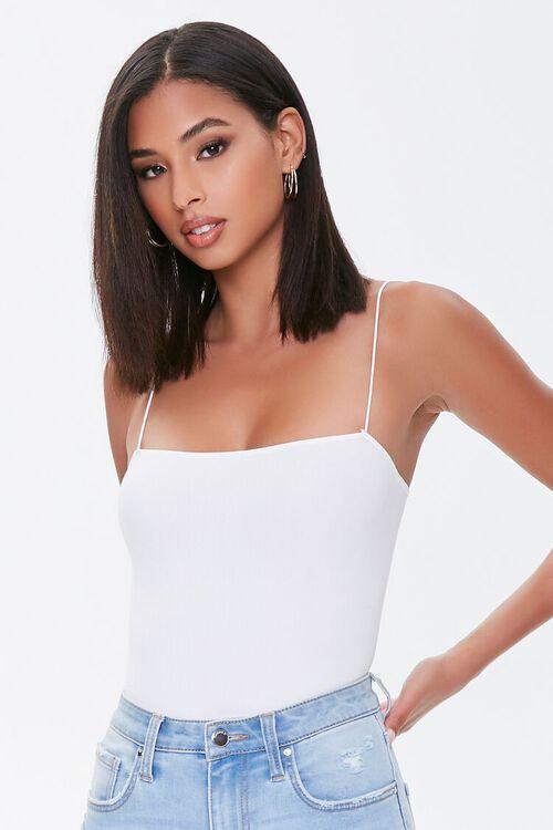 Straight-Neck Cami Thong Bodysuit, image 1