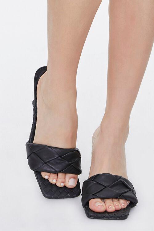 BLACK Braided Square Toe Heels, image 4
