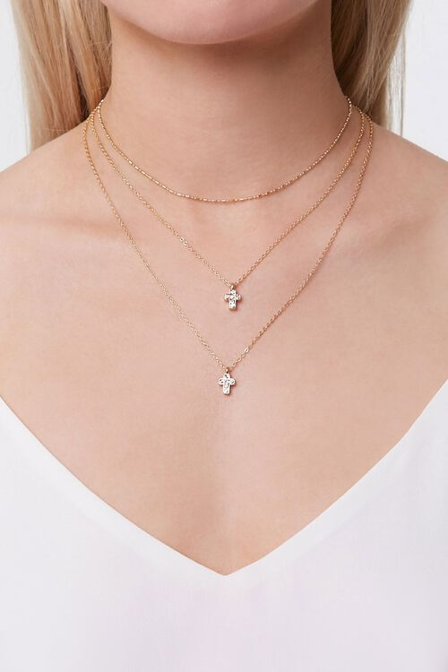 Cross Charm Layered Necklace, image 1