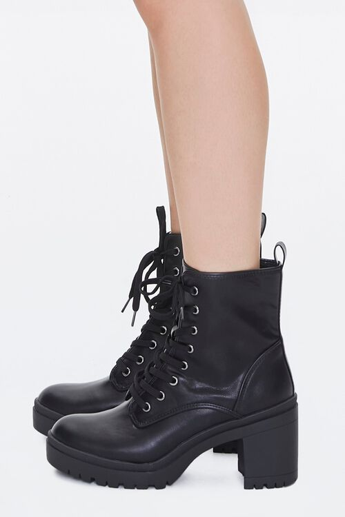Lace-Up Faux Leather Booties, image 2