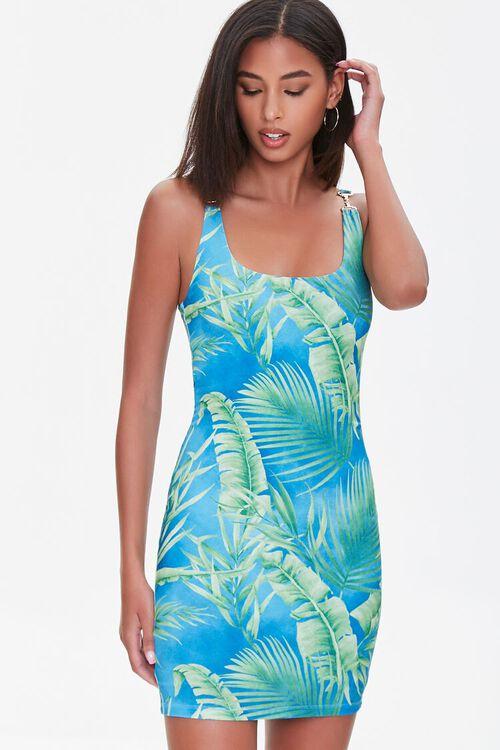 Tropical Leaf Print Mini Dress, image 1
