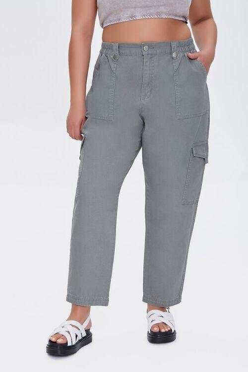 Plus Size Cargo Ankle Pants, image 2