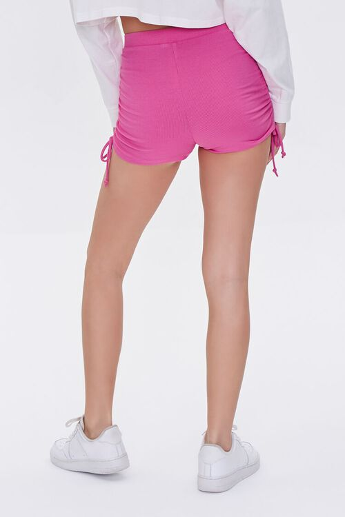 HOT PINK Ruched Drawstring Shorts, image 4
