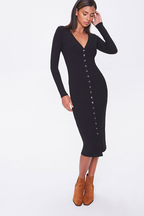 Button-Front Midi Dress, image 1