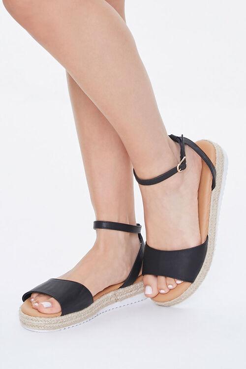 Faux Leather Espadrille Sandals, image 1