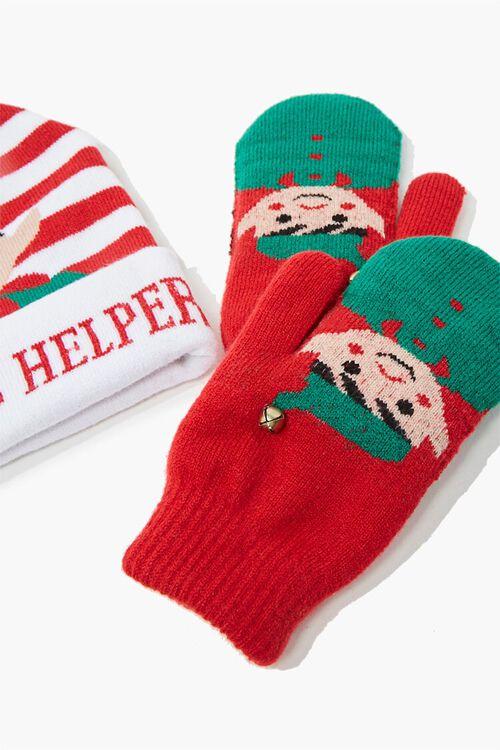 Girls Santas Helper Beanie & Mittens Set (Kids), image 2
