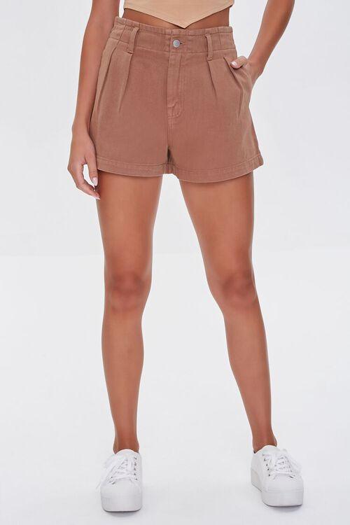 Pleated High-Waist Denim Shorts, image 2