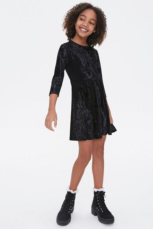 Girls Velvet Skater Dress (Kids), image 4