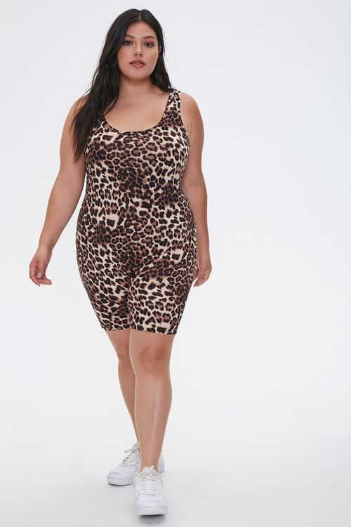 Plus Size Leopard Print Romper, image 4