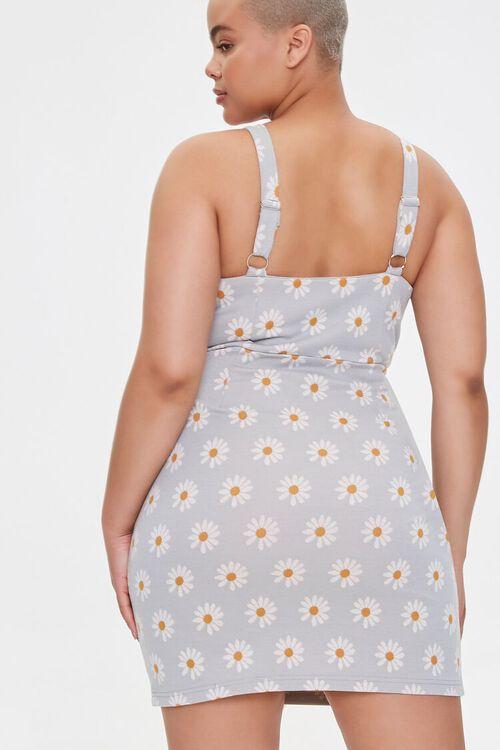 LIGHT BLUE/MULTI Plus Size Daisy Print Mini Dress, image 3