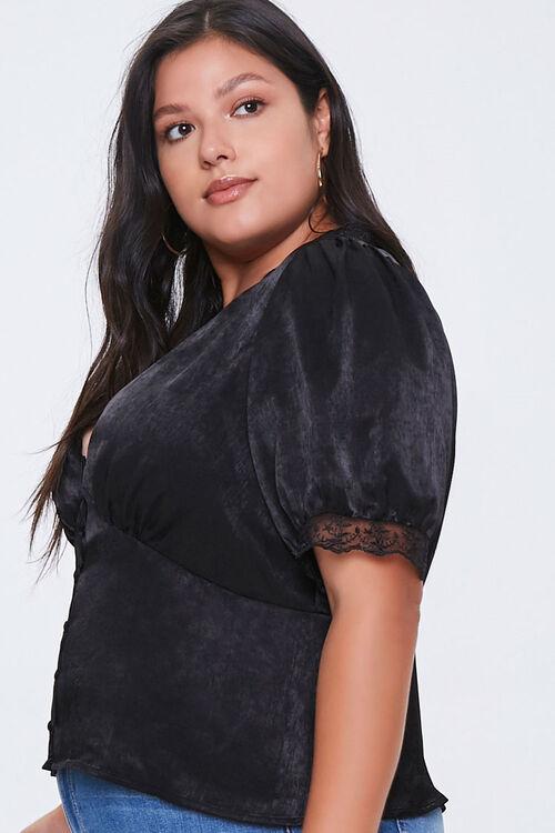 Plus Size Satin Lace-Trim Top, image 2