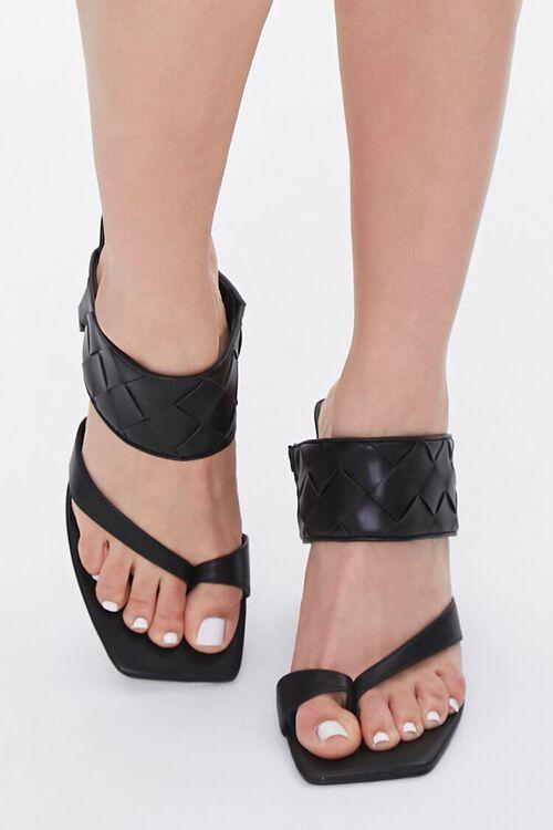 BLACK Basketwoven Toe-Ring Heels, image 4
