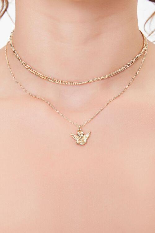 GOLD Upcycled Cherub Layered Choker Necklace, image 1