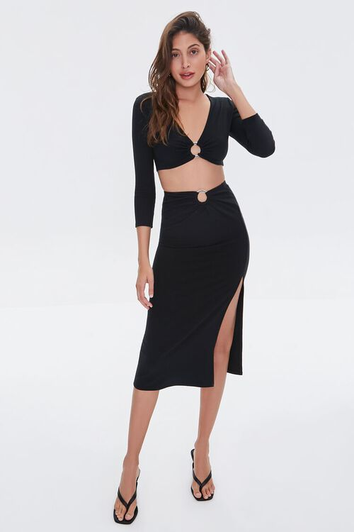 Ruched O-Ring Midi Skirt, image 5